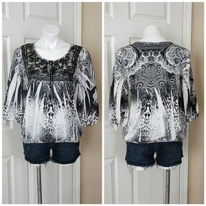 Live and Let Live paisley print 3/4 sleeve top PL